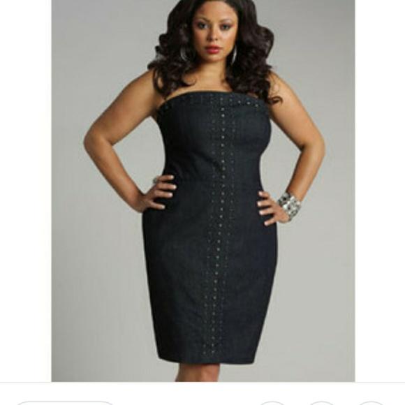 Ashley Stewart Dresses | Plus Size Strapless Jean Dress | Poshmark